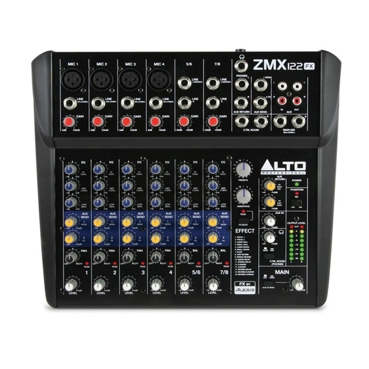 Alto Zephyr ZMX122FX 8 Channel Compact Portable Mixer with 256 Alesis DSP Effects