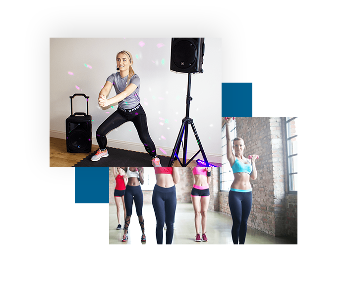 Aerobics fitness audio pa speaker systems, lighting effects and headset microphone