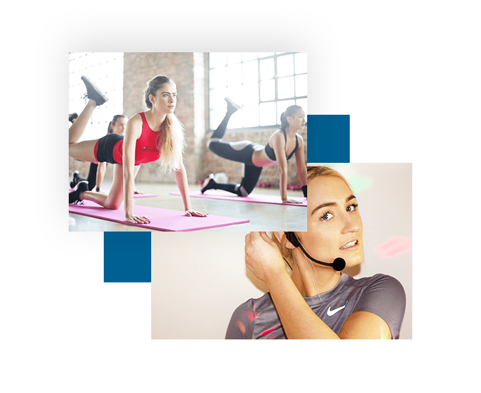 Pilates Fitness Class with audio pa speakers so the class can follow