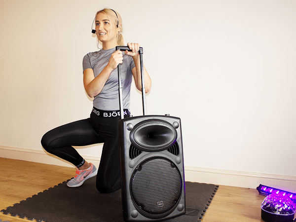 Portable PA Speaker System on Wheels for Fitness Instructors Easy features