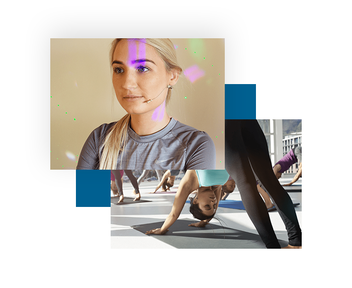 skin coloured hidden headset microphone for yoga classes being worn by a yoga instructor