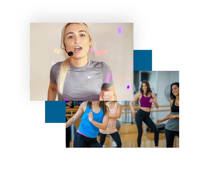 Zumba instructor with headset microphone on and speaker system for the zumba fitness class