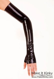 Latex Shoulder Length Fingerless Gloves-IN STOCK-