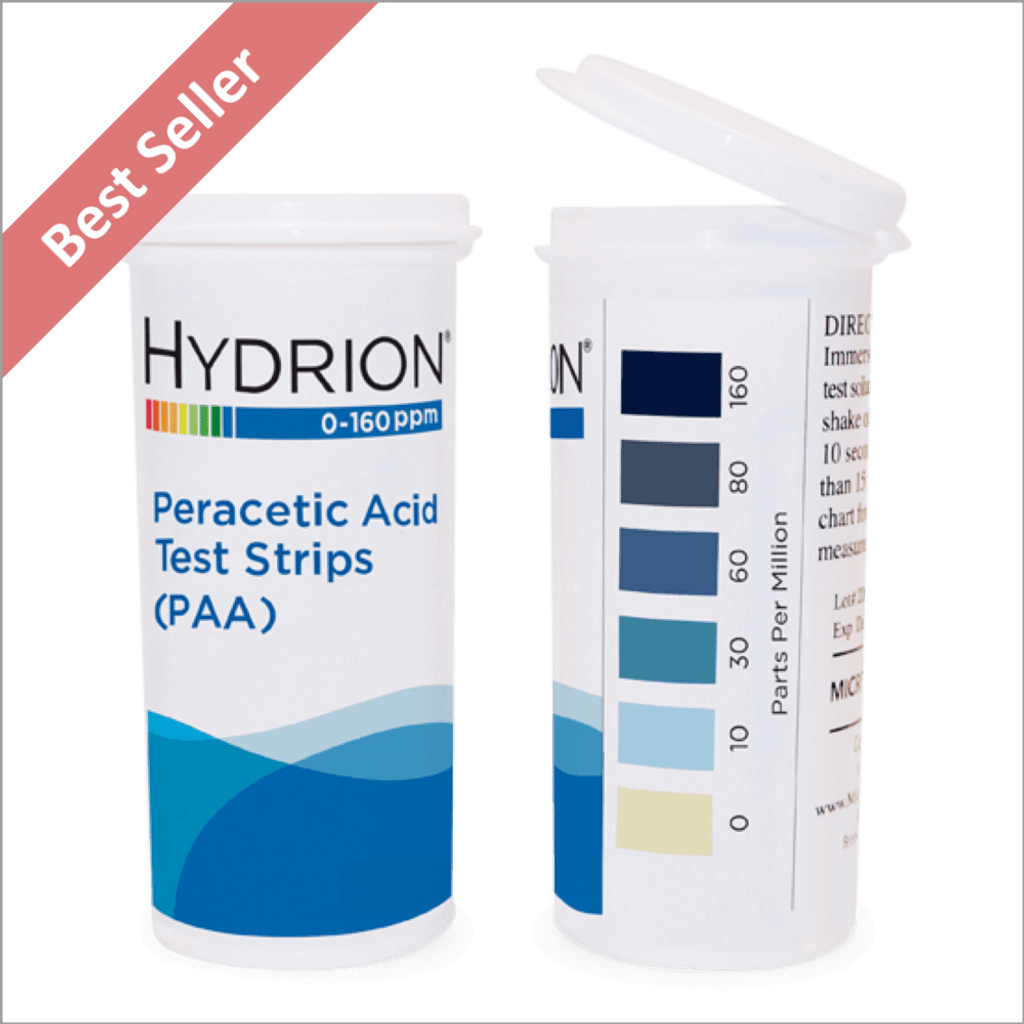 Hydrion PAA 160 Peracetic Acid 0-160 ppm Test Kit