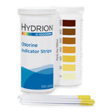 Hydrion Chlorine 0-1000 ppm Test Kit - 100 Test Strips