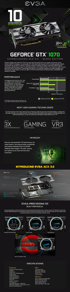 EVGA Geforce GTX 1070 SC 8GB - Graphics Card-GAMING