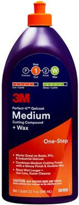 3M Perfect-It Gelcoat Medium Cutting Compound + Wax, Boat Cleaner Wax