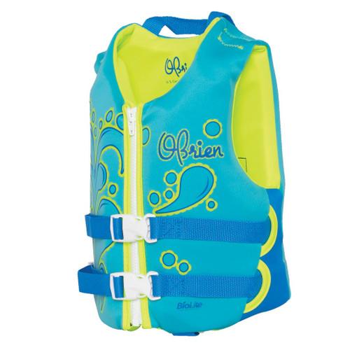 O'Brien Child Neoprene Life Jacket Aqua/Green 30-50 Lbs