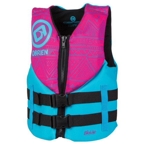 O'Brien Junior Neoprene Life Jacket Pink/Aqua 75-125 Lbs.