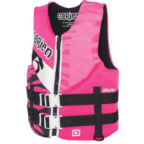 O'Brien Girl's Teen Neoprene Life Vest Pink/Black 75-125 Lbs Front