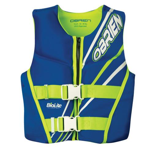 O'Brien Youth Boys Neoprene Life Jacket,Blue/Green 50-90 Lbs.