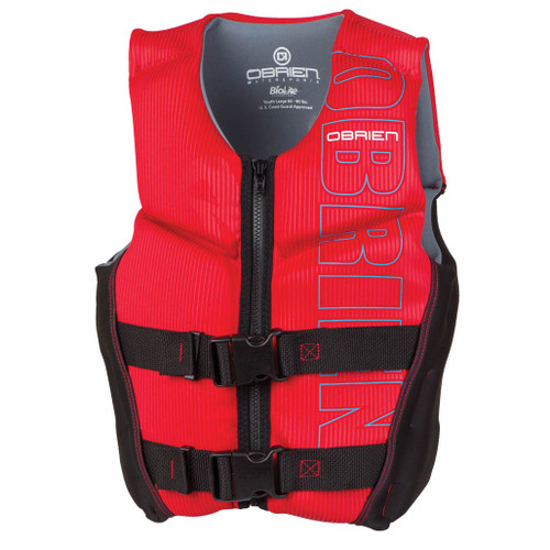 O'Brien Youth Large Boys V-Back Neoprene Life Jacket Black/Red 65-90 Lbs.
