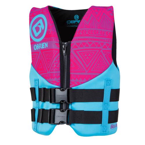 O'Brien Girl's Youth Neoprene Life Jacket Pink/Aqua 50-90 Lbs.