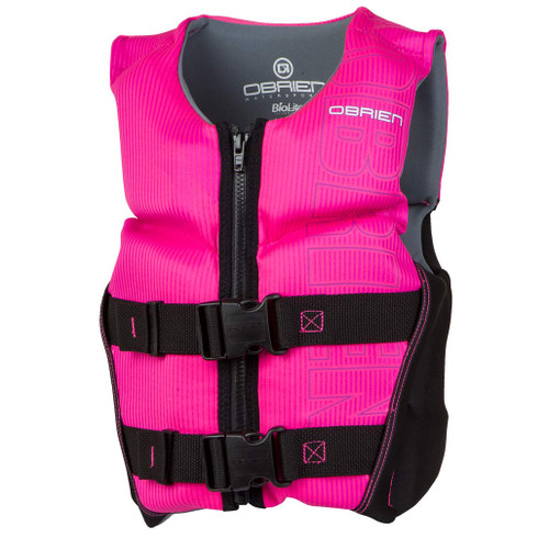 O'Brien Girl's Youth Small V-Back Neoprene Life Jacket Black/Pink 50-75 Lbs. Front