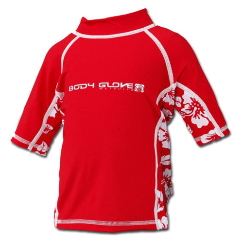 Body Glove Short Sleeve Infant Rash Guard Red w/ Flowers