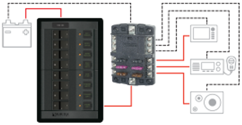 ST Blade Fuse Block - 6 Circuits with Negative Bus and Cover - switching diagram