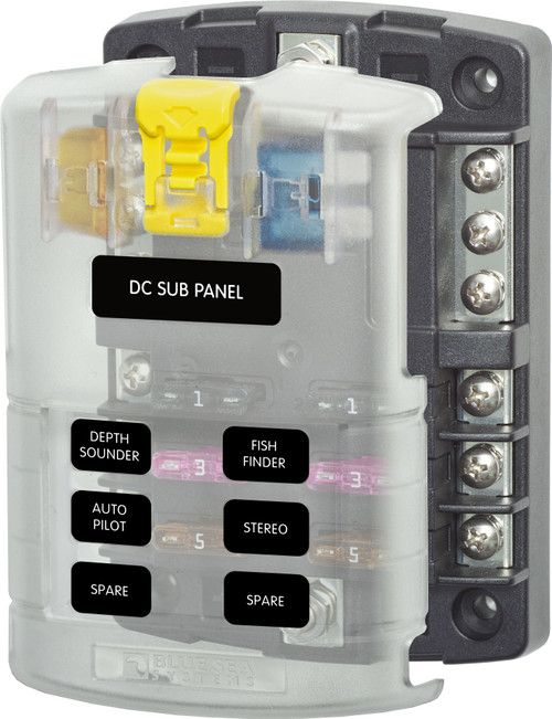 ST Blade Fuse Block - 6 Circuits with Negative Bus and Cover