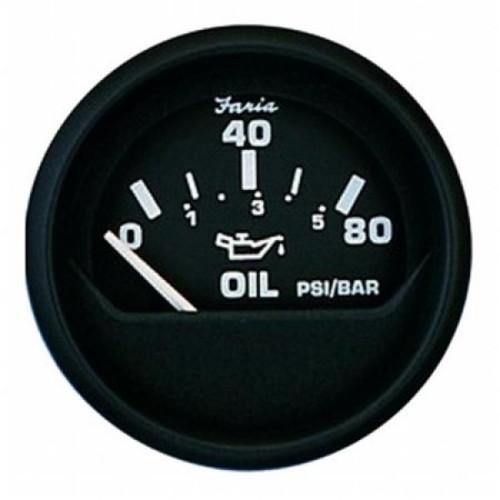 "Faria Oil Pressure Gauge 80 PSI Euro 2"""