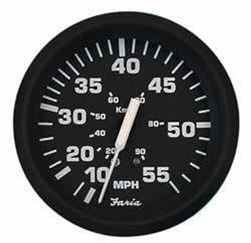 "Faria 35 MPH Mechanical Speedometer Euro 4""  35 MPH"