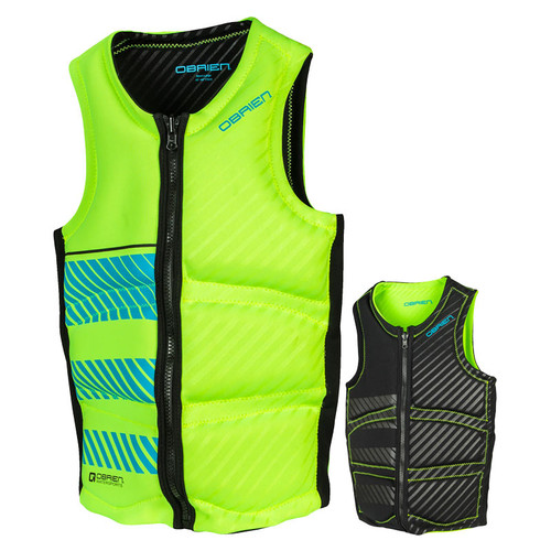 O'Brien Men's Reversable Wake Front Zip NCGA Impact Vest Green/Black