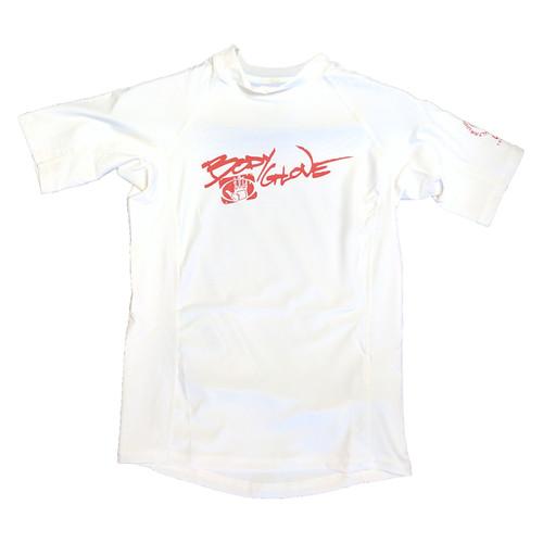 Body Glove Basic Youth Short Sleeve Rashguard White W/ Red Logo