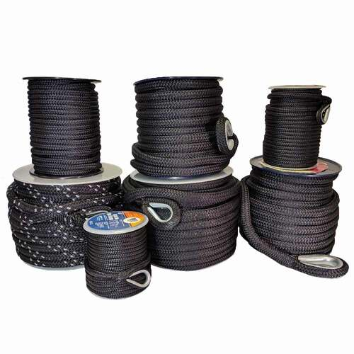 "Unicord Nylon Double Braided Line Anchor Line Black 3/8"", 1/2"", 3/4"""