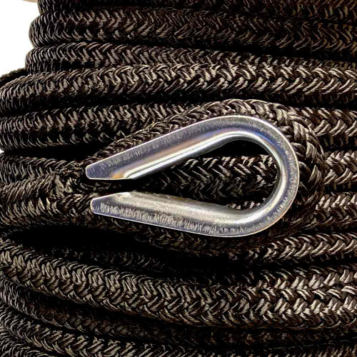 "Unicord Double Braided Tow Line w/Thimbles on Both Ends Black 3/4"" x 100'"