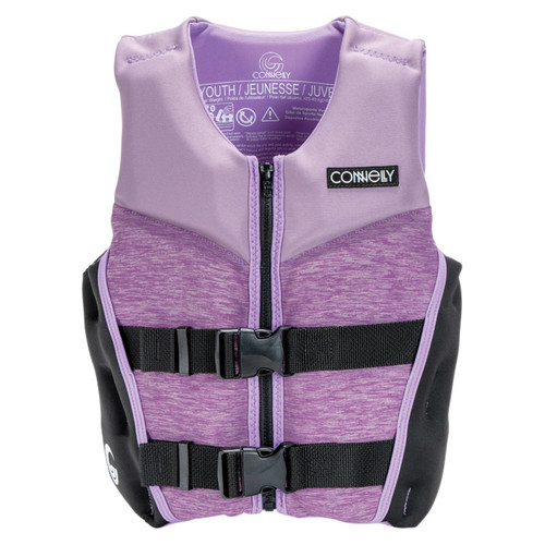 Connelly Classic Girl's Youth Large Neoprene Life Jacket 2020 Front, Lavender/Black