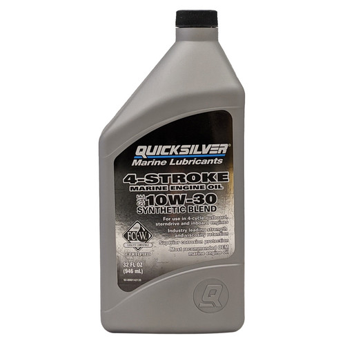 Quicksilver 10W-30 4-Stroke Synthetic Blend Marine Engine Oil - Quart