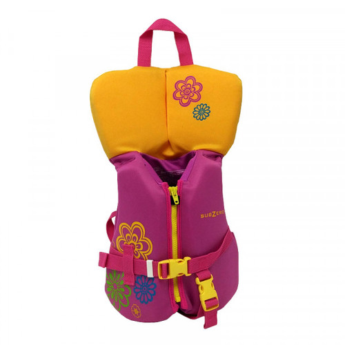 Sub Zero Infant Neoprene Life Jacket Up to 30 lbs. Pink/Yellow Front