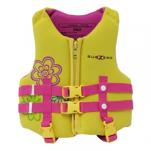 Sub Zero Child Neoprene Life Jacket 30 to 50 lbs. Pink/Yellow Front