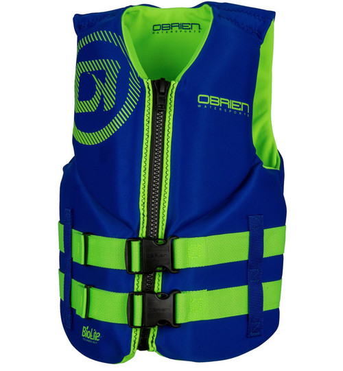 O'Brien Boys Junior Neoprene Life Vest Blue/Green