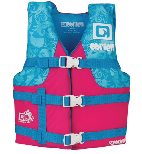 O'Brien Girls Youth Nylon Life Vest Pink/Teal