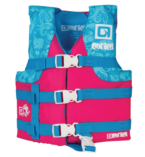 O'Brien Boys Child Nylon Life Vest Pink/Teal