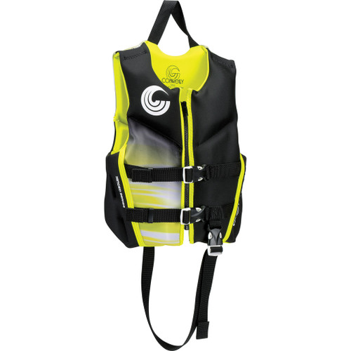 Connelly Classic Boys Child Neoprene Life Jacket, Yellow/Black Front