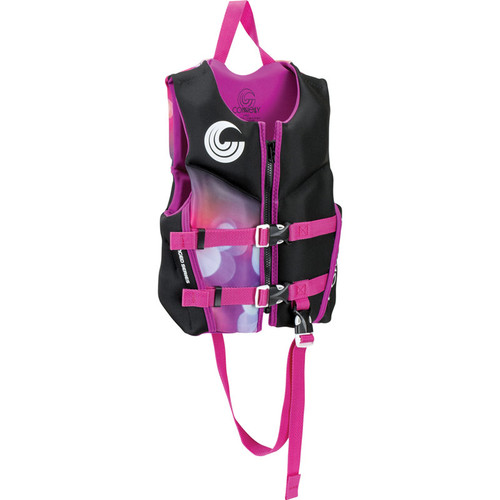 Connelly Classic Girls Child Neoprene Life Jacket Black/Pink Front