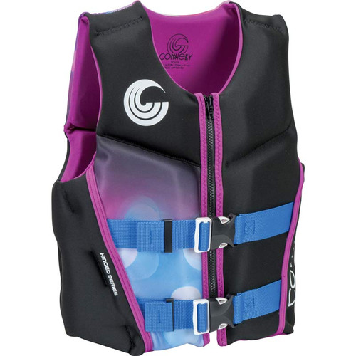 Connelly Classic Girls Youth Neoprene Life Jacket Purple/Black Front