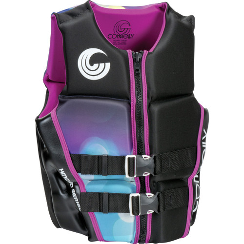 Connelly Classic Women's Neoprene Life Jacket, Black/Purple, Product Image Front