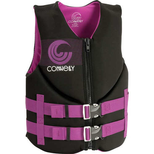 Connelly Promo Girls Junior Neoprene Life Jacket, Pink/Black Product Image Front