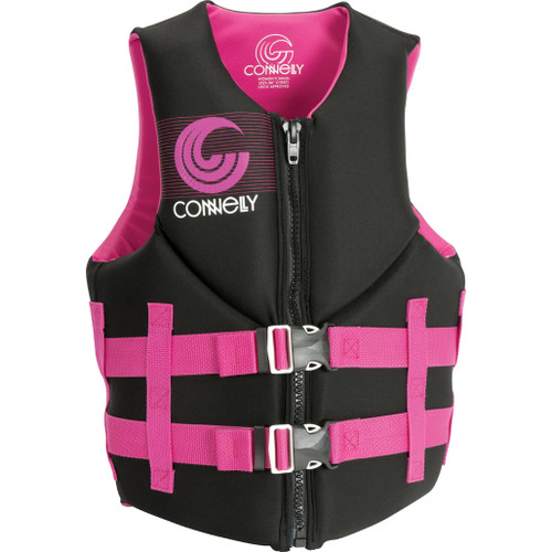 Connelly Promo Women's Neoprene Life Jacket, Pink/Black 2018, Product Image Front