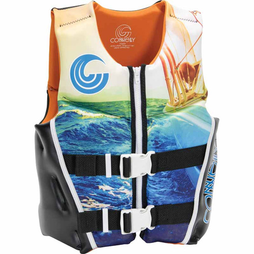 Connelly Classic Sailing Youth Neoprene Life Jacket Orange/Blue  Front