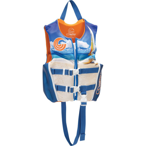 Connelly Classic Tropical Boys Child Neoprene Life Jacket, Orange/Blue Product Image Front