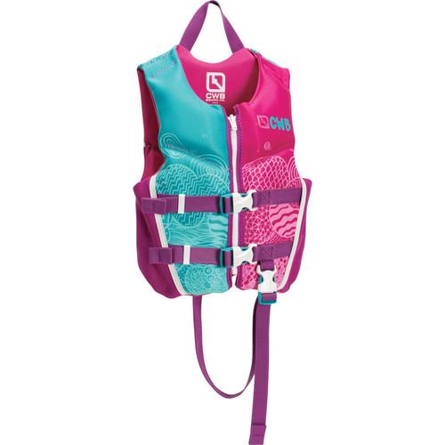 CWB Child Girls Neoprene Life Jacket, Pink/Blue Product Image Front