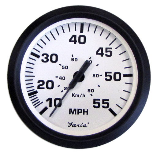 "Faria 55 MPH Speedometer Euro White 4"""