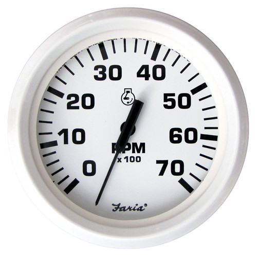 Faria 7000 RPM Tachometer Dress White 4""