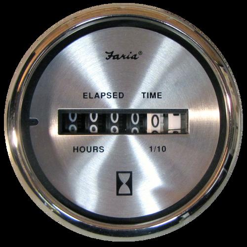 "Faria Hourmeter 10,000 hrs Spun Silver 2"""