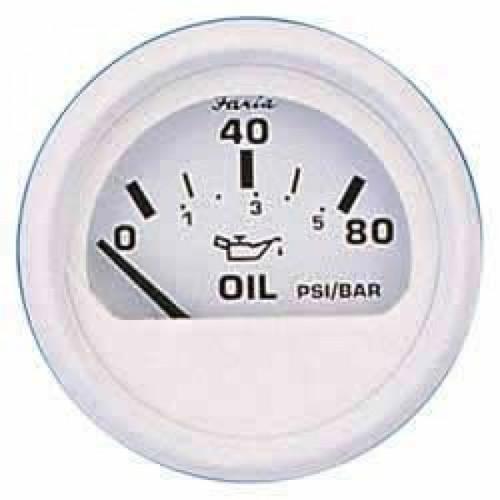 """Faria Oil Pressure Gauge 80 PSI Dress White 2"""""""