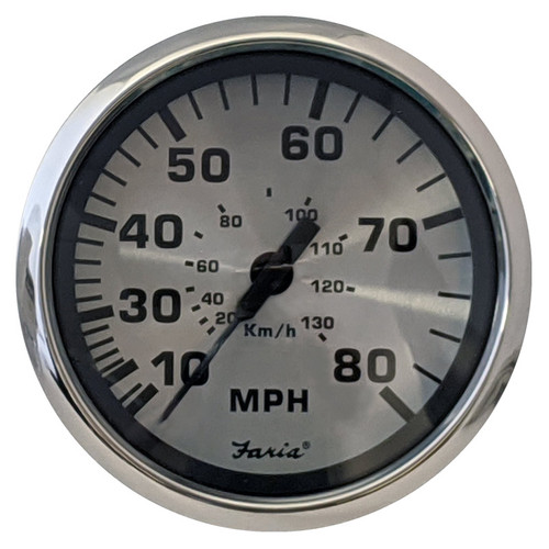 Faria 80 MPH Speedometer Mechanical Spun Silver 4""