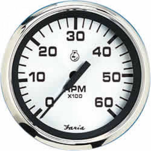 "Faria 7000 RPM Tachometer All Outboards Spun Silver 4"""