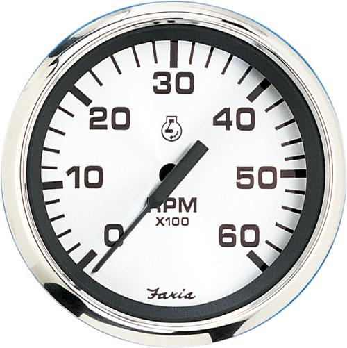 "Faria 6000 RPM Tachometer Inboard & I/O Spun Silver 4"""